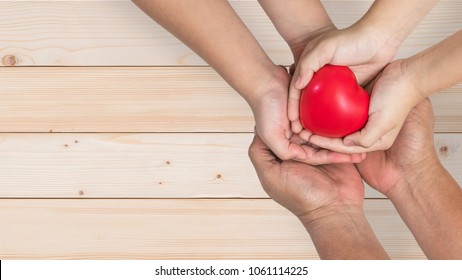 Life insurance, organ donor donation, give life charity and health assurance for family protection concept with father-mother parents and children supporting red heart together