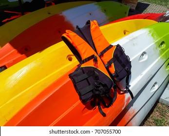 Life jackets on the boat canoe
