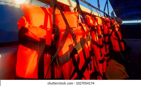 Life jackets is safety equipment hanging on a speedboat
