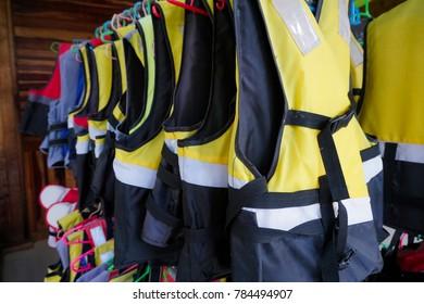 Life jackets for water adventure activities.