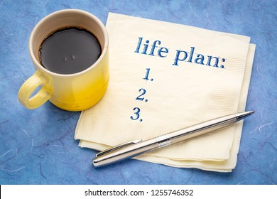 Life plan concept -a blank list on a napkin with a cup of coffee