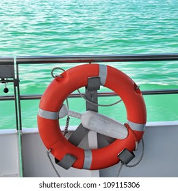 life preserver on the deck of the ship