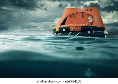 life raft floating on the sea