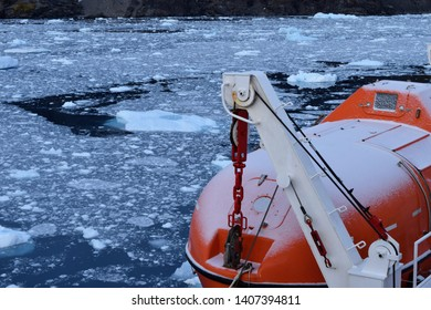 life raft on the cruise ship in the icy water of Antarctica