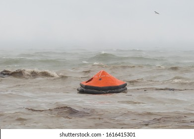 Life raft on the water after shipwreck