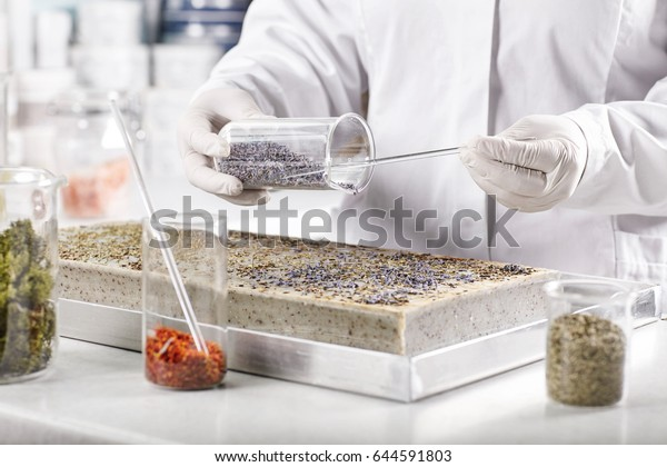 Life scientists researching in laboratory. Young researcher wearing white medical gloves and gown standing near desk making experiment in laboratory developing new kinds of breeds and vegetation