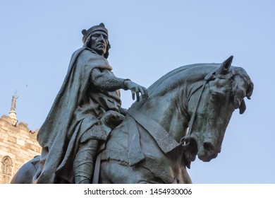 Life size bronze equestrian Statue of Ramon Berenguer. The Count, who ruled Barcelona from 1097 to 1131, is portrayed in regal pose riding his horse Danc. Barcelona, Spain June 28 2019