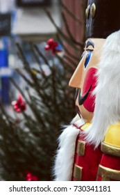 A life size nutcracker stands outside a shop in Heidelberg, Germany at Christmas