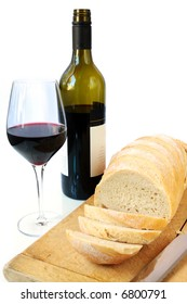 Life staples - fresh bread and red wine.