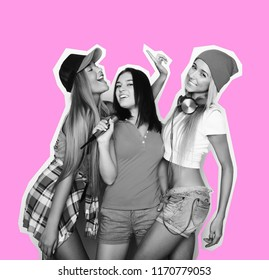 life style, happiness, emotional and people concept: beauty hipster girls with a microphone singing and having fun, art collage