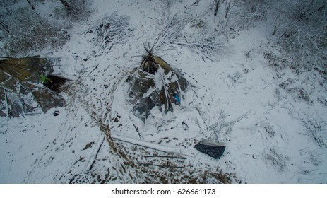 Life in the tipi at winter on Ural mountain