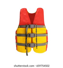 life vest red yellow 3d render on white background