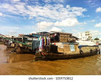 life of the Vietnamese people on Mekong Delta in Ho Chi Minh City (Saigon), Vietnam
