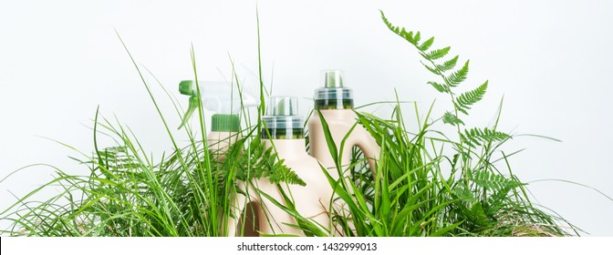 Life without plastic. Environmental protection. World Environment day concept. Plastic bottles in green grass. Instead of plastic grass will not grow.