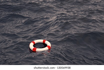 Lifebelt in the Ocean