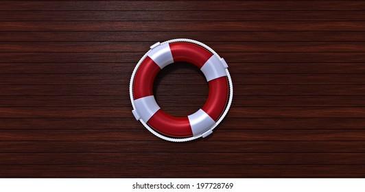 Lifebelt on a yacht wooden floor
