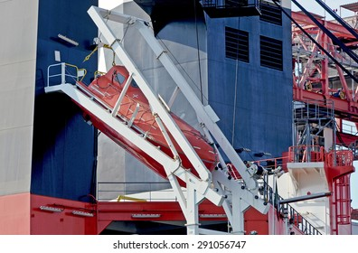 Lifeboat of a cargo ship.