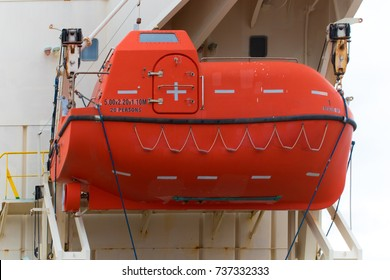 Lifeboat hanging on vessel, safety and rescue equipment