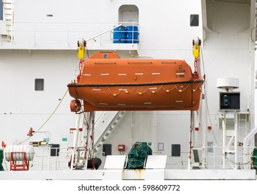 Lifeboat on deck of a bulk ship