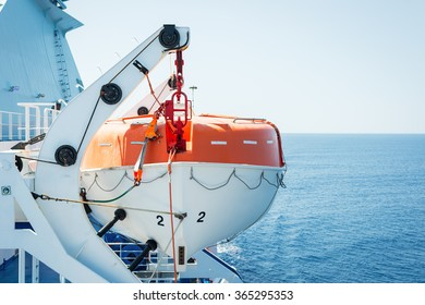 Lifeboat on deck of a cruise ship