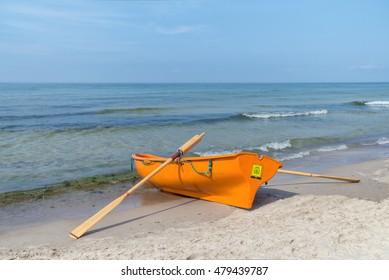 Lifeboat on seashore
