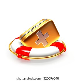 Lifebuoy with first aid kit isolated on white background. Health insurance