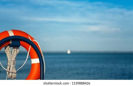 Lifebuoy at lake Balaton in summer