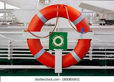 Lifebuoy Life ring on a Boat, Ferry boat, hanging on a guard rail