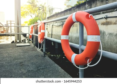 Lifebuoy on dock safety for passenger when the accident.