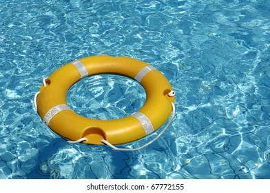 lifebuoy on a swimming pool