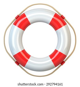 Lifebuoy  red isolated on white background 3d