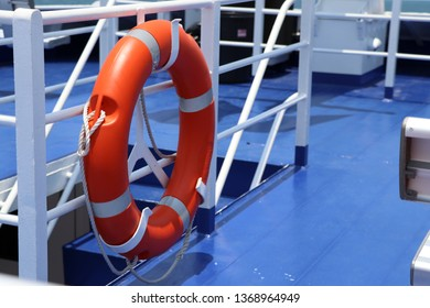 Lifebuoy rings on board for rescuing passengers. Lifebuoy rings mounted on the boat ready to save those who fell into the water.