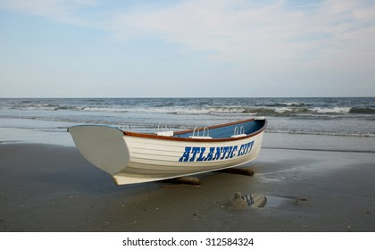 Lifeguard boat on the beach. Atlantic City, New Jersey