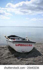 Lifeguard boat on the seashore
