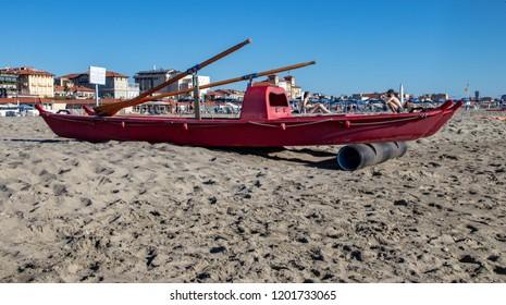 Lifeguard Boats in the Resort Town of Viareggio, Italy