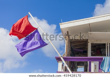 Lifeguard Booth Miami Beach Warning Flags Stock Photo (Edit Now