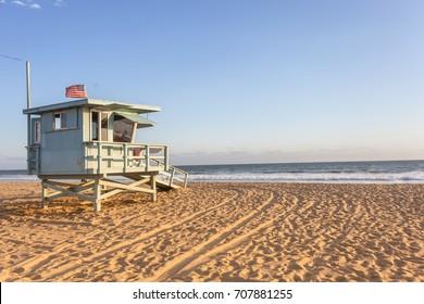 Lifeguard cabin on Santa Monica beach in California on sunset