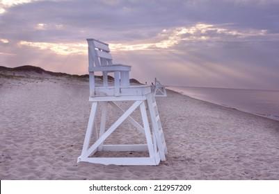 Lifeguard chair on beach at Head of the Meadow beach, Truro, Massachusetts Cape Cod