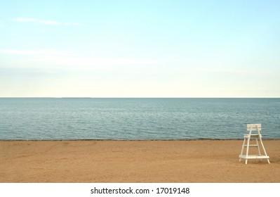 Lifeguard chair on a deserted New England Beach.
