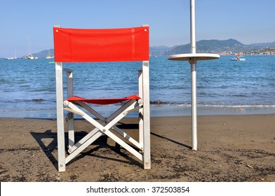 lifeguard chair on the private beach in Italy