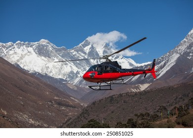 Lifeguard helicopter in Himalaya mountains in Nepal