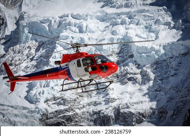 Lifeguard helicopter on Everest base camp in Nepal
