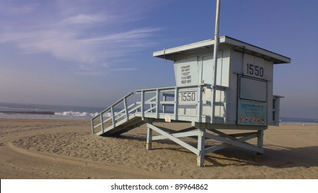 d3f57d34aa78 Lifeguard house on a sandy beach in California