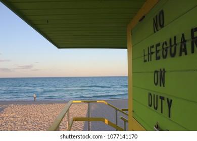 Lifeguard House on South Beach in Miami Beach. Closeup of No Lifeguard on Duty.