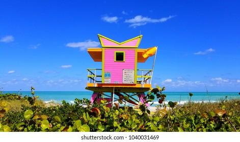Lifeguard house. South Beach, Miami, Florida