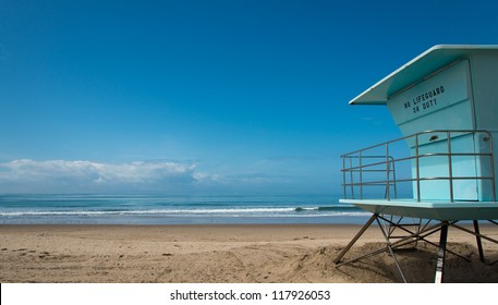 Lifeguard hut at beach in southern California