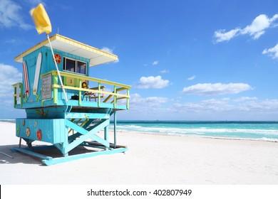 Lifeguard hut in a deserted beach. South Beach, Florida