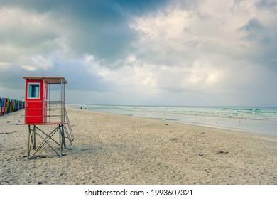 lifeguard hut on muizenberg beach, cape town, south africa