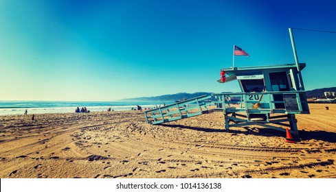 Lifeguard hut in Santa Monica beach, Los Angeles. California, USA