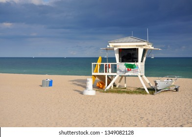 Lifeguard Huts in South Beach in Fort Lauderdale, Florida, USA.
